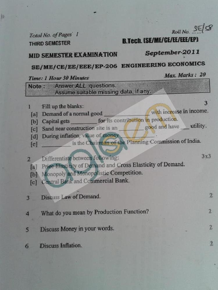 DTU Question Papers 2011 - 3 Semester - Mid Sem - SE-ME-CE-EE-EEE-EP-206