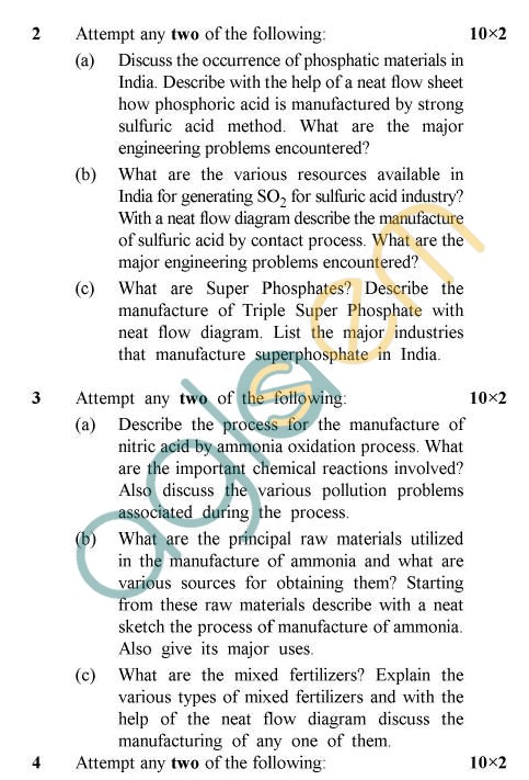 UPTU: B.Tech Question Papers - TCH-603 - Chemical Technology-II