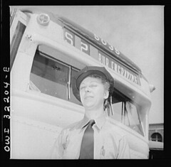 A Woman Outside Her DC Streetcar: 1943