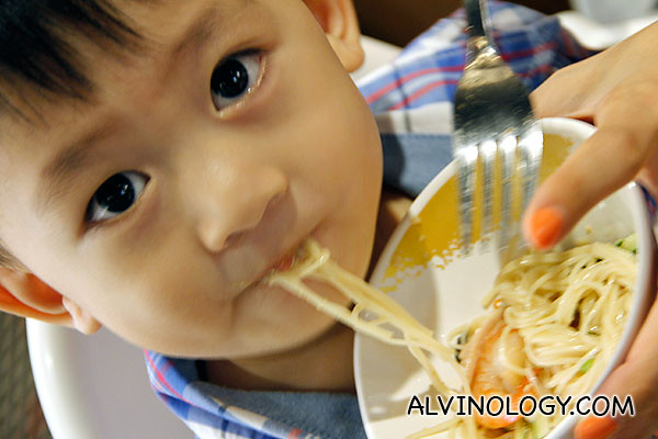 My son, Asher, enjoying the cold noodle