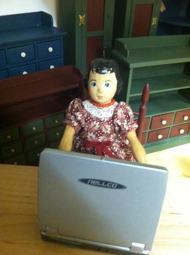 At the computer