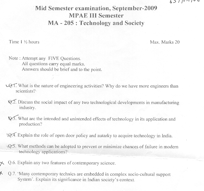 NSIT: Question Papers 2009 – 3 Semester - Mid Sem - MA-205