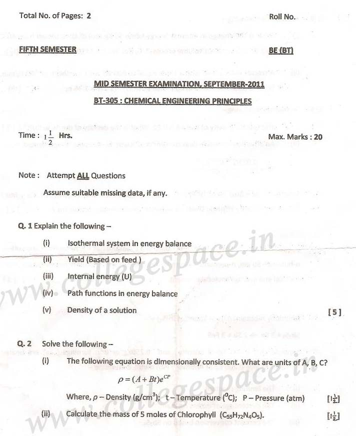 NSIT Question Papers 2011 – 5 Semester - Mid Sem - BT-305