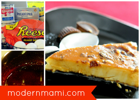 REESE'S Chocolate Peanut Butter Cream Cheese Flan