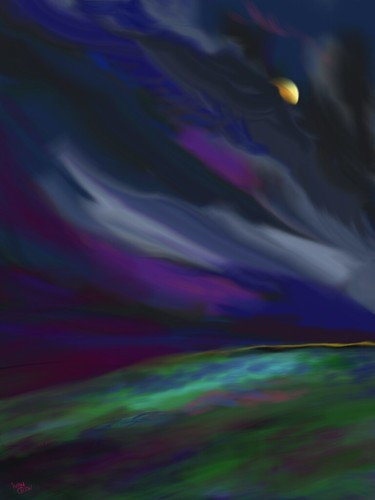 """""""Windy Night over the Moor"""" (#42: Project 365 Sketches)"""