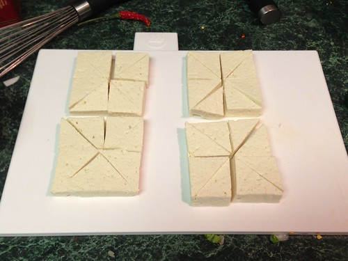 Well dried and triangle-cut tofu