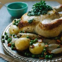 Chicken Pot Roast With Potatoes, Shallots and Peas