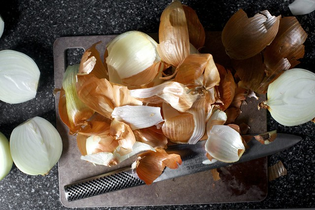 onion halves and peels