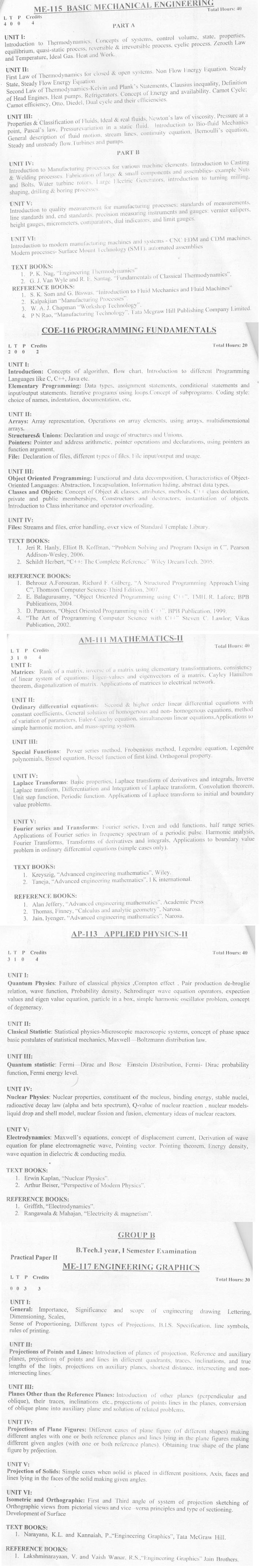 DTU Syllabus  2010 - 1 Sem