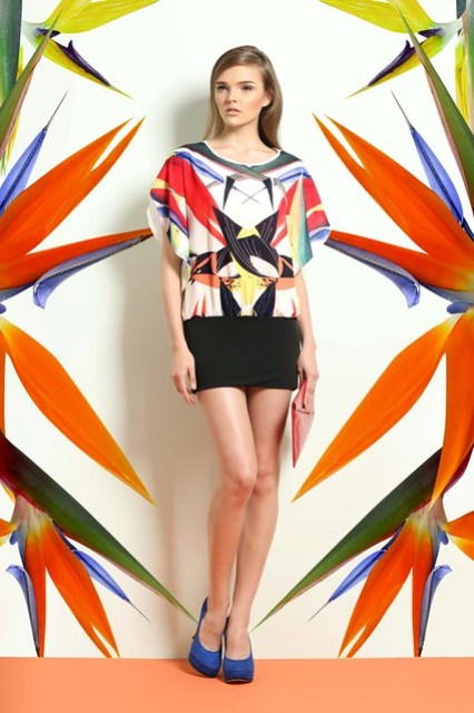 Oversized Tunic Top with Birds of Paradise Print (worn as dress)