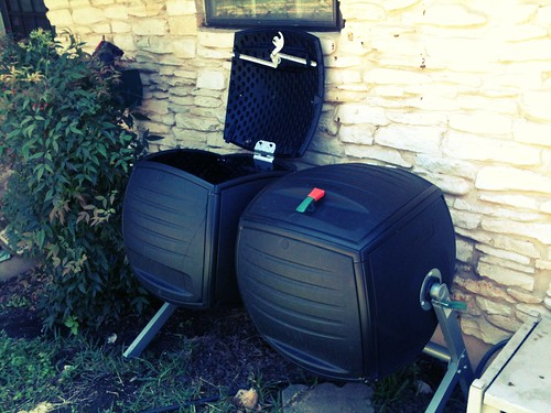 Our new 100 gallon dual-chamber rotating compost bin. Echo helped pay for it. Thanks Echo!