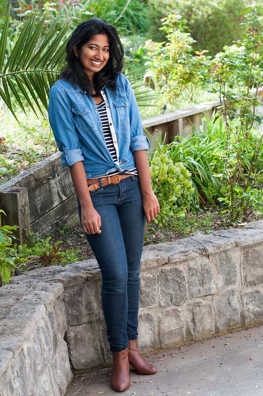 Layering Striped Under Chambray-3