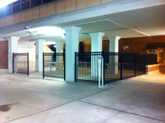 Fenced in bike parking at the Morse Red Line station