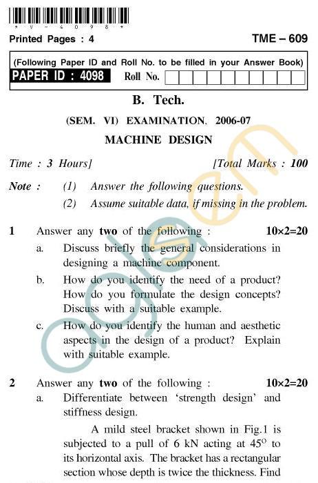 UPTU B.Tech Question Papers - TME-609 - Machine Design