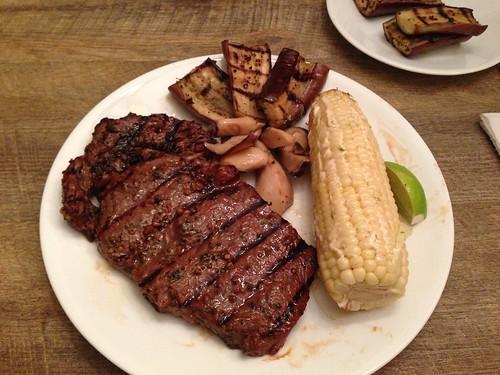 Grilled Ribeye with Mexican grilled corn and fish sauce spiked veggies