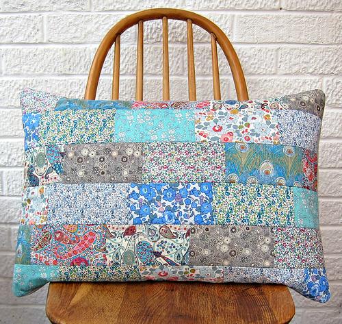 Liberty patchwork cushion (blue/grey)