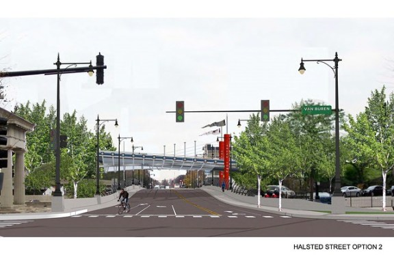 southbound Halsted photorealistic with flyover