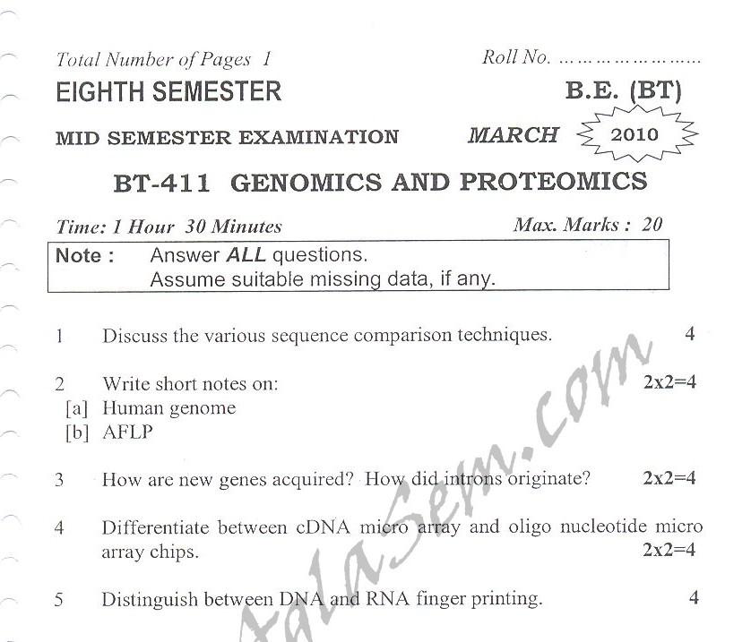 DTU Question Papers 2010 – 8 Semester - Mid Sem - BT-411