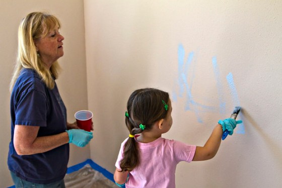 painting her brother's walls
