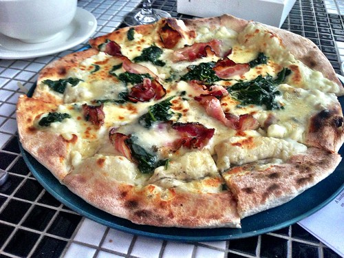 Pancetta, gorgonzola, spinach woodfired pizza