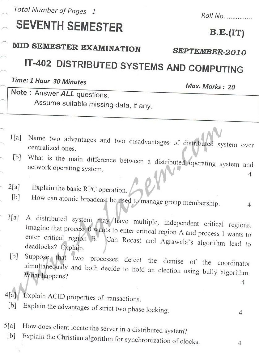 DTU Question Papers 2010 – 7 Semester - Mid Sem -  IT-402
