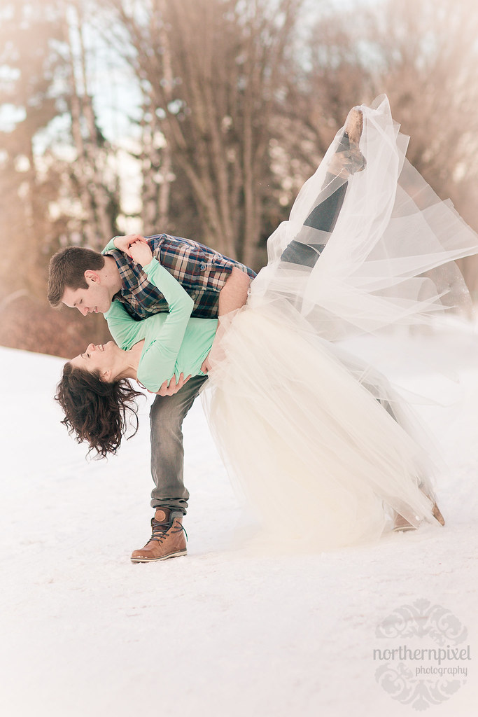 Winter Ballerina Engagement Session Dip Kick Tulle Tutu