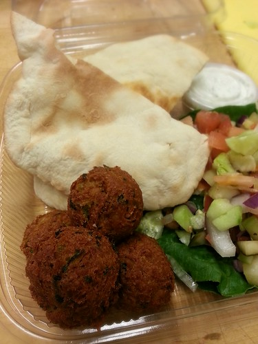 build-your-own falafel sandwich with pita bread and tzatziki sauce by pipsyq