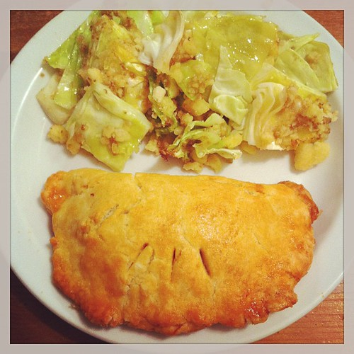 Pork pasty and cabbage.