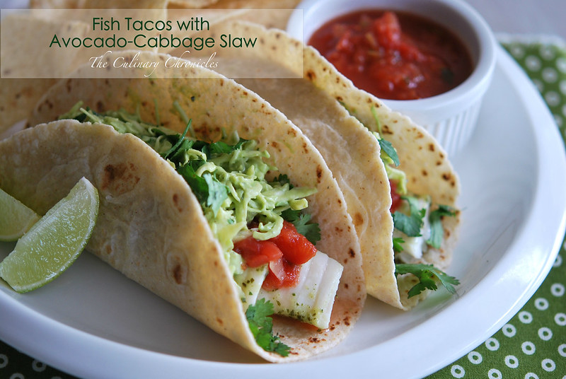 Fish tacos with avocado cabbage slaw for Cabbage slaw for fish tacos