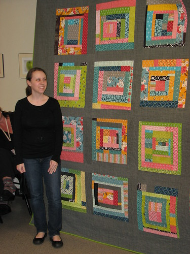 Vicki's Improv Block king sized quilt.  She quilted it on her home machine and added hand quilting.