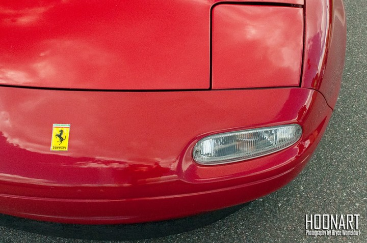 Miata hood with a Ferrari badge