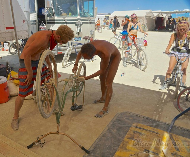 naturist 0006 Playa Bike Transportation/ Repair, Burning Man 2012, Black Rock City, NV, USA