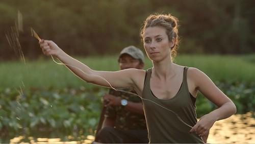 Julia Dimon handfishing in Guyana