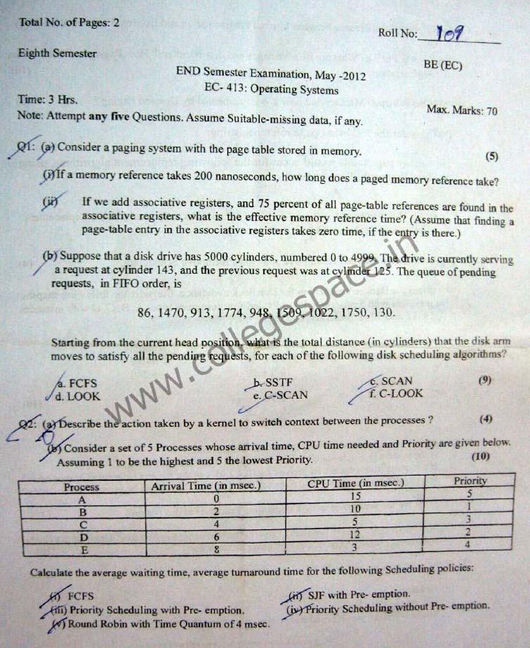 NSIT Question Papers 2012 – 8 Semester - End Sem - EC-413