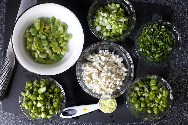 fava, scallion, chives, asparagus, ginger, tofu