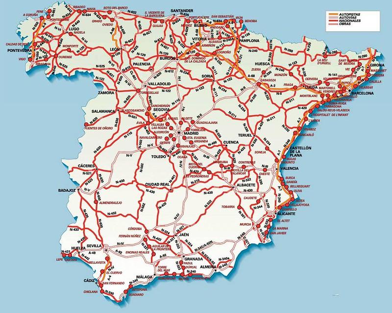 Mapa de Estradas em Espanha