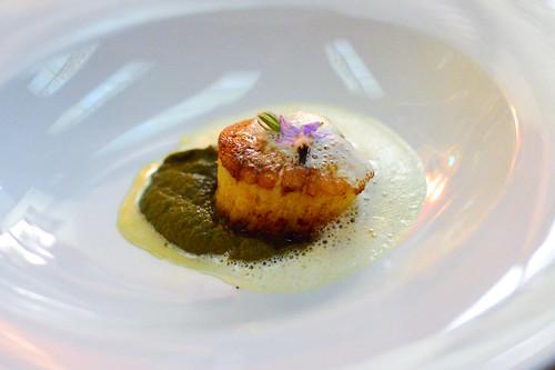 seared scallop morel and ramp fondue sauce Billi Bi