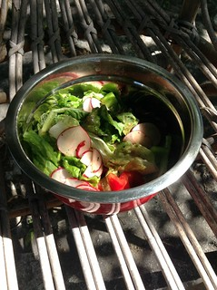 Chopped salad with balsamic vinegar, olive and coconut oil.