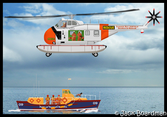 Sikorsky UH-19B rescue 'copter & Rescue Boat 09