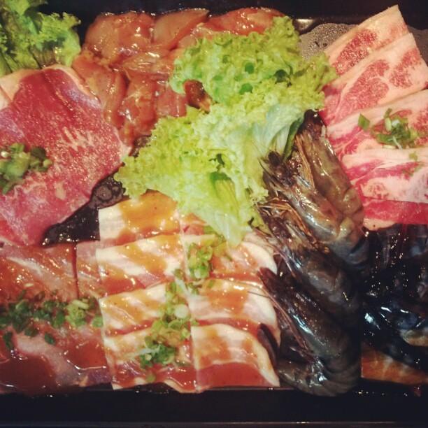 Fresh BBQ ingredient at Rockyu restaurant in Bugis +