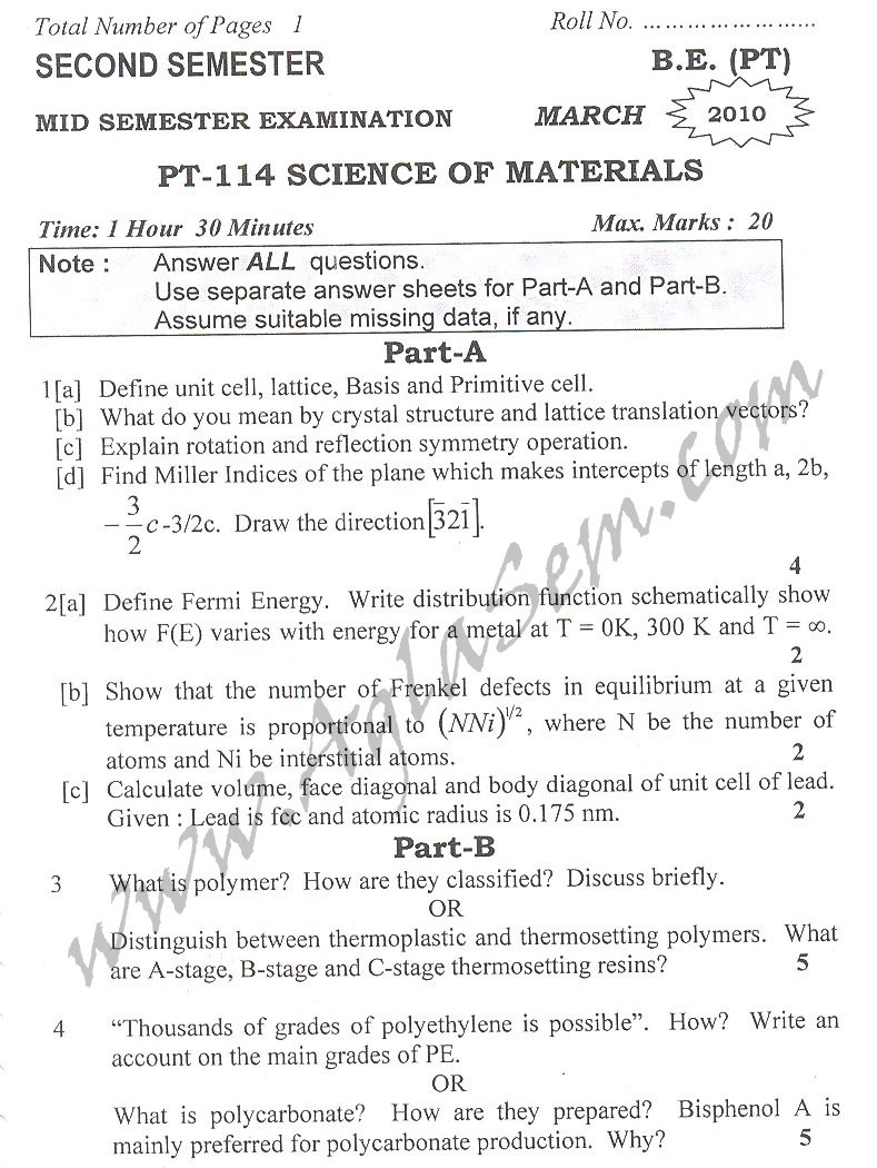 DTU Question Papers 2010 – 2 Semester - Mid Sem - PT-114