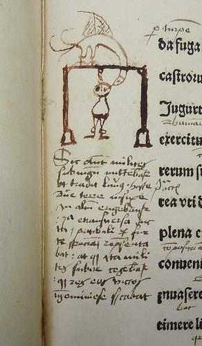 Early ms. sketch of a bird pecking at the eye of a man hanged on a gallows by Penn Provenance Project
