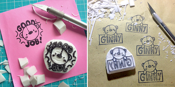 Carving rubber stamps