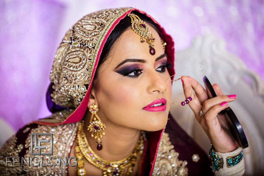 Close up of Bride's face at wedding