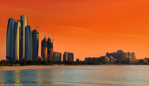 The Emirates Palace Hotel and Etihad Towers