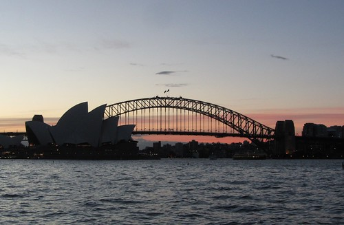 opera house and bridge at dusk