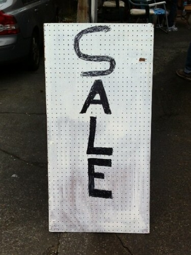 Pegboard sale sign