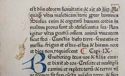 Detail of leaf [a]6v of an incunable edition of the Bible in Latin (Nuremberg: Anton Koberger, 16 Nov. 1475; ISTC ib00543000) with rubrication and ms. manicule in brown ink by Penn Provenance Project