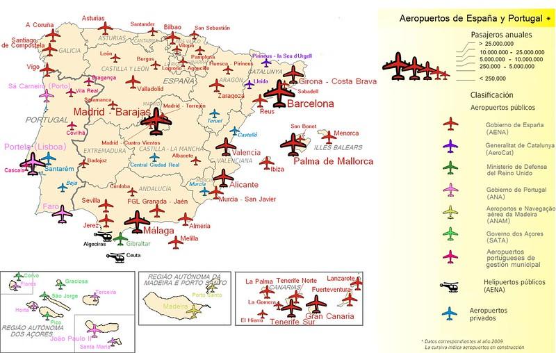 Mapa Aeroportos Espanha e Portugal