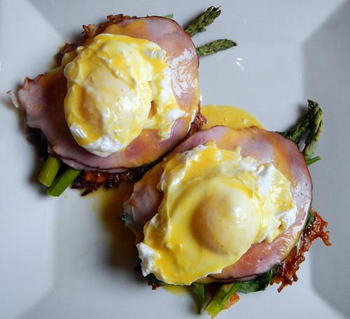 Eggs Benny & Asparagus on a Potato Latke